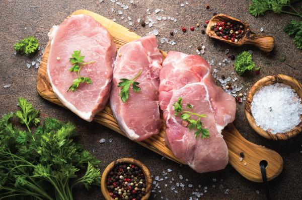 Fresh seasoned pork chops